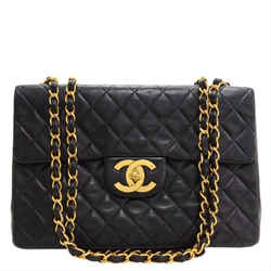 Chanel XL Black Quilted Lambskin Maxi Flap Gold Chain 860689