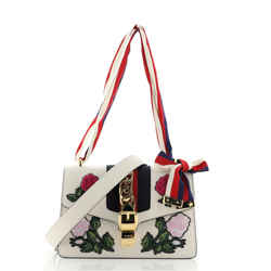 Sylvie Shoulder Bag Embroidered Leather Small