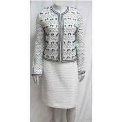 New St. John Boutique White & Black Tweed Cropped Jacket Fringe Bow 8