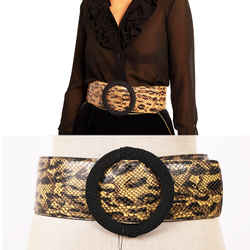 32 New $1,150 Saint Laurent Woman's Yellow Python-effect Leather Wide Waist Belt