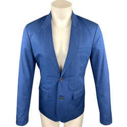 Marc By Marc Jacobs Blue Cotton Notch Lapel Sport Coat