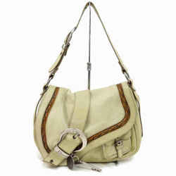 Dior      Beige Gaucho Saddle Messenger Shoulder Flap Bag 873007