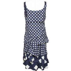 MARC JACOBS Dress Sleeveless Print Cotton Navy Cream Sz M