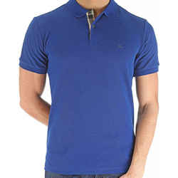NEW Burberry Men's Blue Cotton Embroidered Logo Polo Shirt Size Small