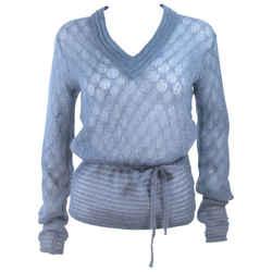 MISSONI Sky Blue Wool Knit V-Neck Sweater Size 8