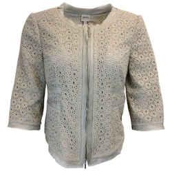 Armani Collezioni Grey Silk Eyelet Jacket