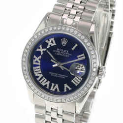 Rolex Men's 36mm Watch Datejust Stainless Steel Blue Roman Dial Diamond Bezel