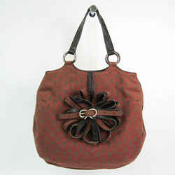 Anya Hindmarch Ribbon Pattern Women's Canvas,Leather Handbag Black,Brow BF527596