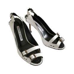 Manolo Blahnik Konak Black/white Sandals (35.5)