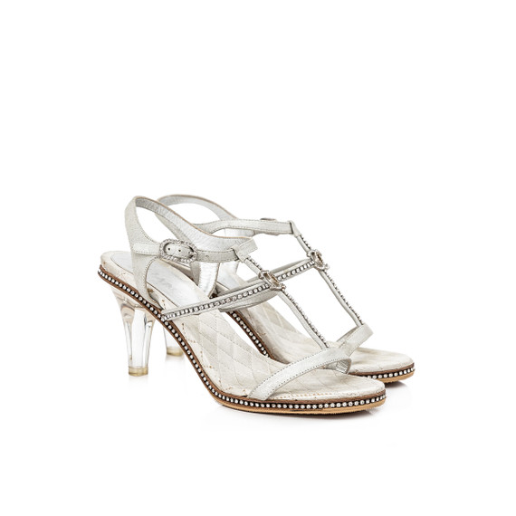 Pre-Owned Chanel Interlocking C Crystals Sandal Heels