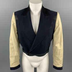 Vintage JEAN PAUL GAULTIER Size 36 Navy & Beige Mixed Fabrics Wool Cropped Jacket