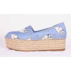sz 37 New $695 Miu Miu Light Blue White Cat Print Platform Espadrilles Summer Flats