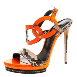 Casadei Orange Patent and Embossed Leather Roccia Platform Ankle Strap Sandal...