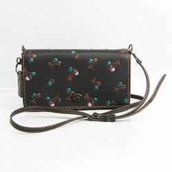 Coach Dinky Cherry 24140 Women's Leather Shoulder Bag Black,Multi-color BF529506