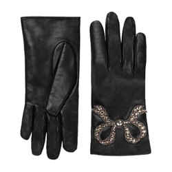Gucci Black Leather Riding Gloves with Crystal and Silver Bow Design 481679