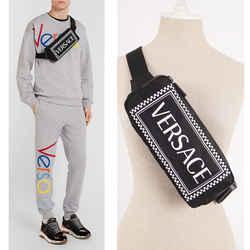 NEW $920 VERSACE Men's/Woman's Runway 90's Vintage LOGO Printed Nylon WAIST BAG