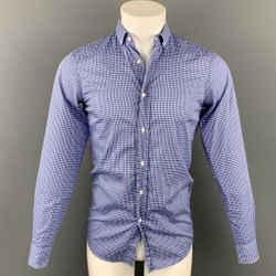 RALPH LAUREN Black Label Size S Blue Plaid Cotton Button Down Long Sleeve Shirt