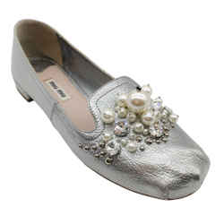 Miu Miu Silver Leather Pearl and Rhinestone Embellished Flats