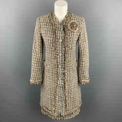 MOSCHINO Size 6 Cream / Brown Textured Woven Wool Skirt Set