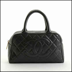 Rdc10894 Authentic Chanel Black Calfskin Caviar Leather Mini Bowling Bag