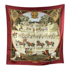 Hermes Vintage Silk Scarf Presentation de Chevaux 1970 Ledoux