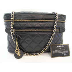 Authentic Chanel Black Lambskin Crossbody Camera Bag, 24k Gold Plate Cc Logo