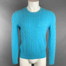 POLO by RALPH LAUREN Size L Aqua Cashmere Cable Knit Pullover