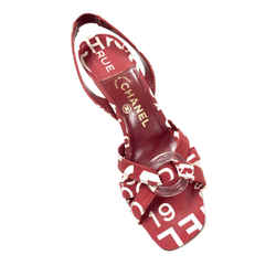 CHANEL Muted-Red/White Logo-print Canvas Slingback Heel Sandals