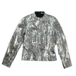 Erdem - $2425 New 2019 Runway Tonya Shirt Blouse Top - Silver Sequin - US 2