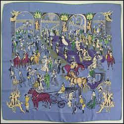 Rdc11378 Authentic Hermes Blue/violet La Soiree A L'opera Silk Scarf