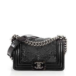 Boy Flap Bag Sequin with Patent Small