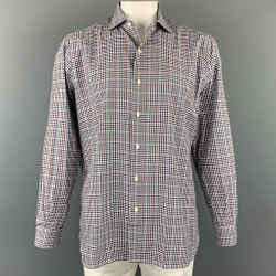 ERMENEGILDO ZEGNA Size XL Black & Blue Gingham Cotton Long Sleeve Shirt