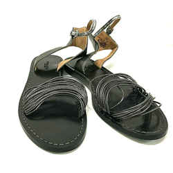 Coach Black Gunmetal Leather Corded Ankle Strap Flat Sandals Shoes Size 7.5