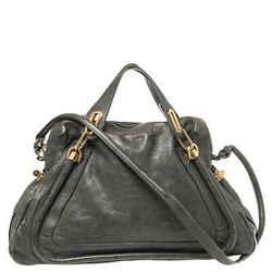 Chloe Dark Green Leather Paraty Shoulder Bag