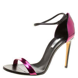 Casadei Metallic Magenta and Black Leather Candylux Ankle Strap Open Toe Sand...