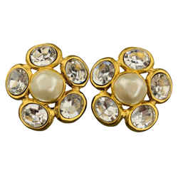 Chanel Vintage Gold Tone Faux Pearl & Rhinestone Cluster Clip On Earrings