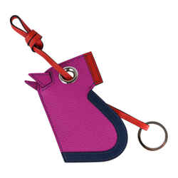 Hermes Camail Key Ring Bag Charm Magnolia / Bleu de Malte / Capucine New