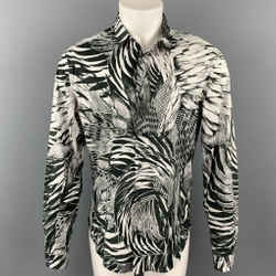 JUST CAVALLI Size M Black & White Abstract Print Cotton Button Up Long Sleeve Shirt