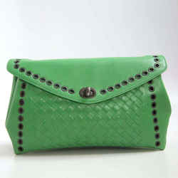 Bottega Veneta Green Intreccio Grommeted Clutch