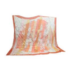 Authentic Hermes Silk Chiffon Scarf Le Monde Est Vaste Orange Diatkine 140cm Shawl Carre