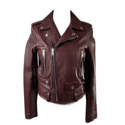 Saint Laurent Brown Leather Biker Women Jacket Size 36