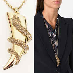 New $715 Roberto Cavalli Gold Tone Snake Horn Swarovki Crystal Long Necklace Nib