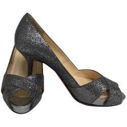 Christian Louboutin Pewter Glitter Cross Strap Peep Toe Pumps Size: EU 34.5 (Approx. US 4.5) Regular (M, B) Item #: 25819507
