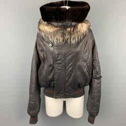 JEAN PAUL GAULTIER Femme Size M Black Leather Sheep Skin Turtleneck Fur Collar Jacket