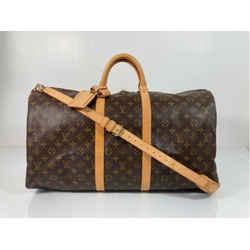 Louis Vuitton Monogram Keepall Bandoliere 55 Travel Duffle Bag