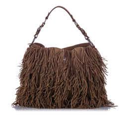 Brown Prada Nappa Fringed Shoulder Bag