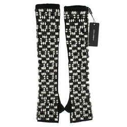 Dolce & Gabbana Black Cashmere Crystal Finger Less Women's Gloves