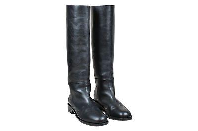 Celine Black Leather Knee High Low Heel