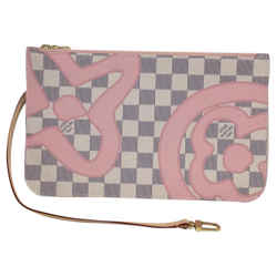 Louis Vuitton Neverfull Tahitienne Pouch Rose Ballerine Canvas Clutch