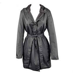 Black Perforated Nylon Hooded Coat
